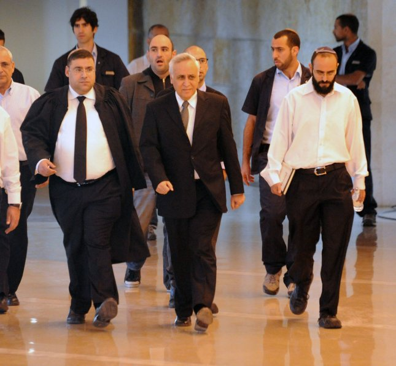 Moshe Katsav, center, arrives at the Supreme Court in Jerusalem, Nov. 10, 2011. UPI/Debbie Hill