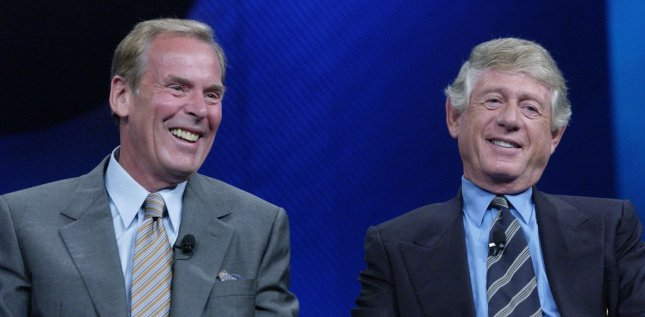 Peter Jennings (L), former prime-time anchorman for ABC News, died Sunday, August 7, 2005 at his home in New York City, the network said. He was 67 and suffered from lung cancer. Jennings shares a laugh with Ted Koppel during a question and answer session as part of ABC 2004 Summer Press Tour in Los Angeles, California, July 12, 2004. .(UPI Photo/Jim Ruymen/Files)