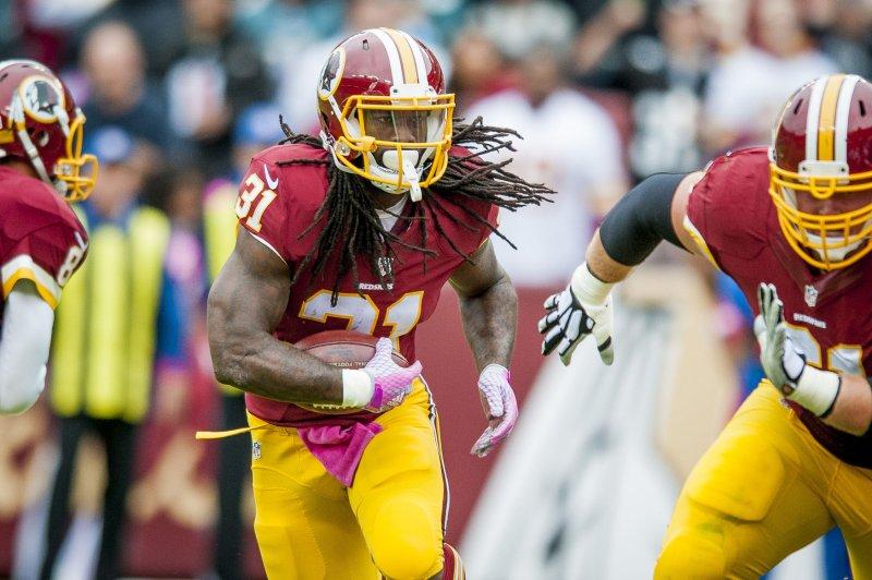 Washington Redskins' running back Matt Jones runs the ball against the Philadelphia Eagles last fall. File Photo by Pete Marovich/UPI