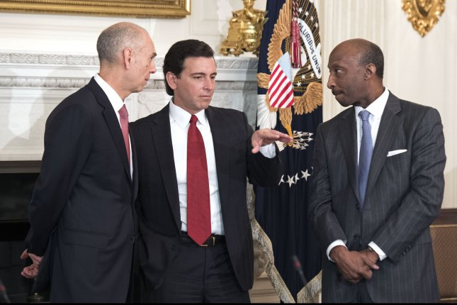 Mark Fields (C), of Ford Motor Co.; Kenneth Frazier (R), Merck CEO; and Juan Luciano, chairman of Archer Daniels Midland Co., talk prior to a meeting with President Donald Trump at the White House on February 23. Many business leaders abandoned Trump's advisory councils after his remarks on Charlottesville. File Photo by Kevin Dietsch/UPI