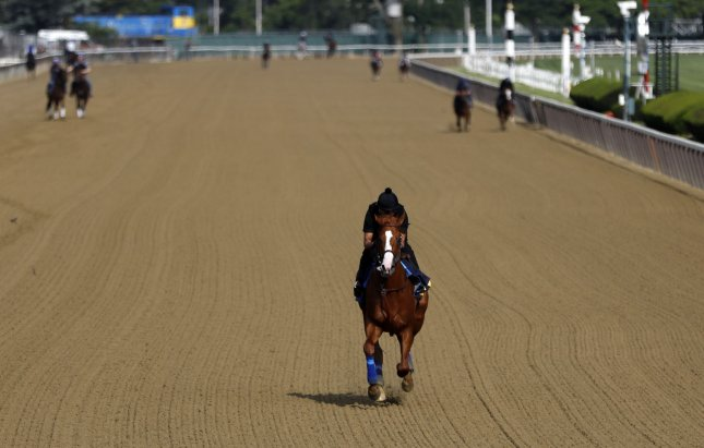 Triple Crown contender Justify works out at Belmont Park on the Friday before the 150th Belmont Stakes in Elmont, New York. With a win Saturday, Justify will be the first horse to capture the Triple Crown since American Pharoah in 2015. Photo by Jason Szenes/UPI