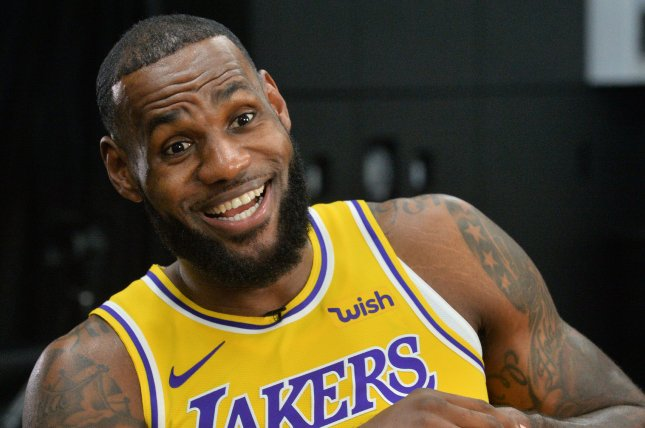 Los Angeles Lakers forward LeBron James scored 26 points in his franchise debut on Thursday in Portland. Photo by Jim Ruymen/UPI