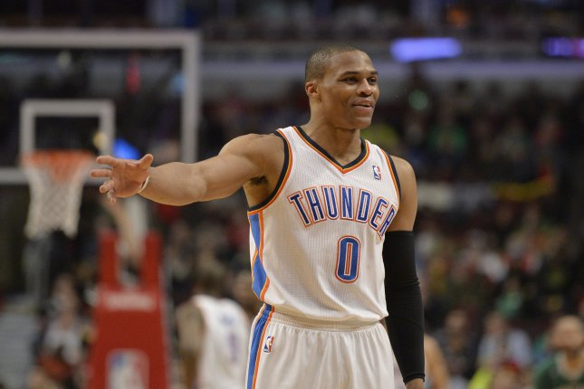 Oklahoma City Thunder guard Russell Westbrook had a candid conversation with the father of a young fan who poked him while siting courtside Tuesday night. File Photo by Brian Kersey/UPI