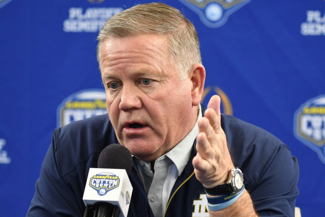 Notre Dame head coach Brian Kelly said his team will consider opting out of a bowl game invitation if his players' families aren't allowed to attend due to the coronavirus pandemic. File Photo by Ian Halperin/UPI