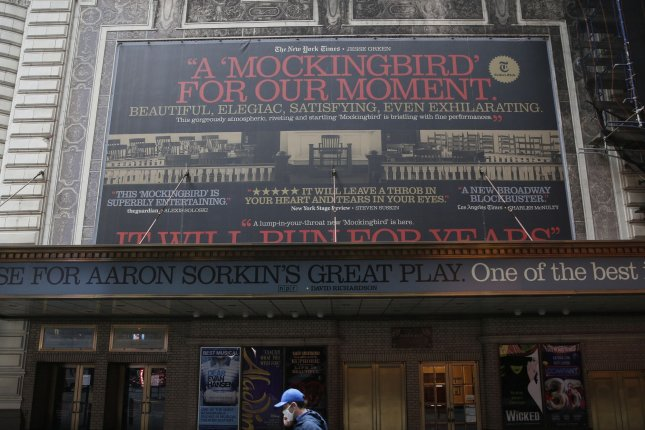 The entrance to the Broadway show To Kill a Mockingbird is closed at the Shubert Theatre in New York City's Times Square on April 15. Broadway theaters are scheduled to reopen in September. Photo by John Angelillo/UPI
