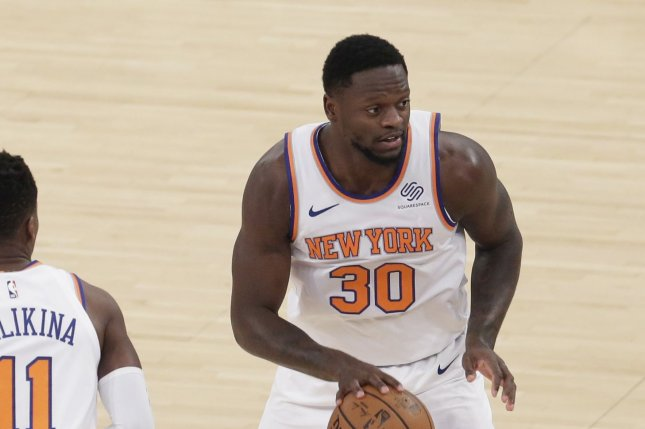 New York Knicks forward Julius Randle (R), shown Nov. 16, 2019, became the first Knicks player to win the award. File Photo by John Angelillo/UPI