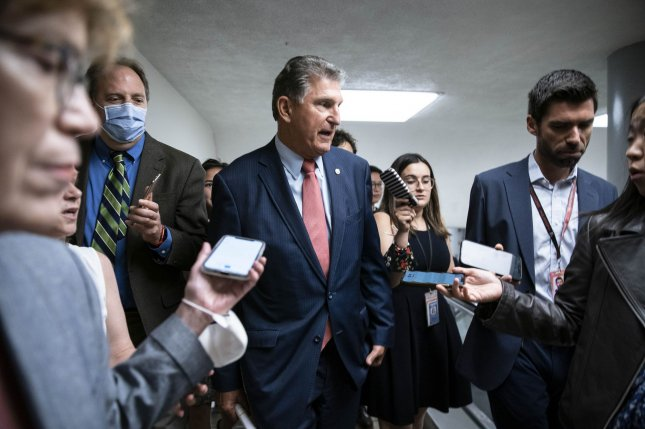 Sen. Joe Manchin, D-W. Va., penned an op-ed Sunday declaring he would vote against the sweeping voting rights legislation known as the For the People Act and opposes ending the filibuster. FilePhoto by Sarah Silbiger/UPI
