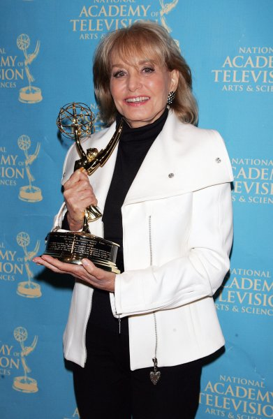 Barbara Walters arrives in the press room with her Emmy for Lifetime Achievement Award at the News and Documentary Emmy Awards at Rose Hall, Jazz at Lincoln Center in New York on September 21, 2009. UPI/Laura Cavanaugh