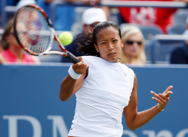 Anne Keothavong, shown during last year's U.S. Open, claimed a first-round win Tuesday at a tournament in England. (UPI Photo/John Angelillo)