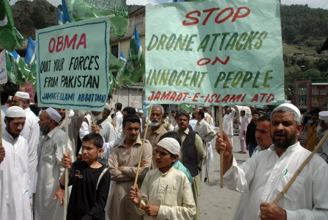 Supporters of a Pakistani religious group Jamaat-e-Islami attend an anti American rally in Abbottabad, Pakistan, on May 6, 2011. UPI/Sajjad Ali Qureshi