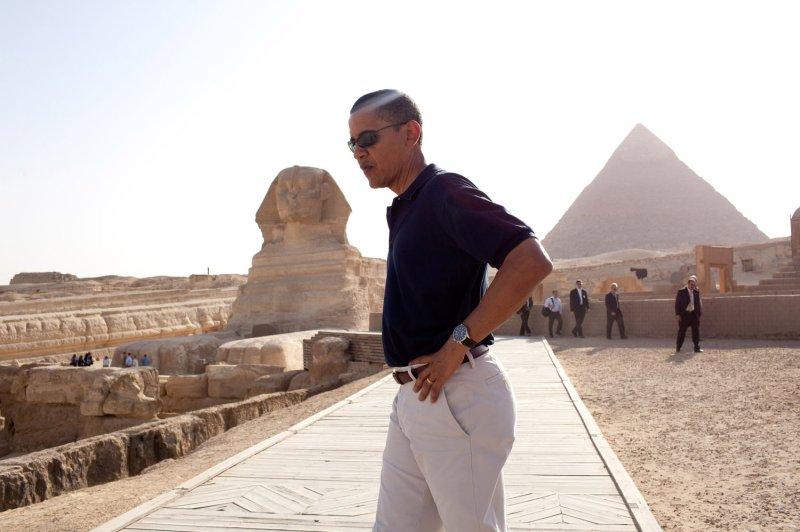 President Barack Obama tours the Egypt's Great Sphinx of Giza (left) and the Pyramid of Khafre. (UPI Photo/Pete Souza/White House)