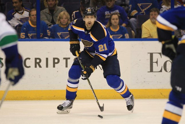 St. Louis Blues Patrik Berglund looks to pass the puck. File photo by BIll Greenblatt/UPI