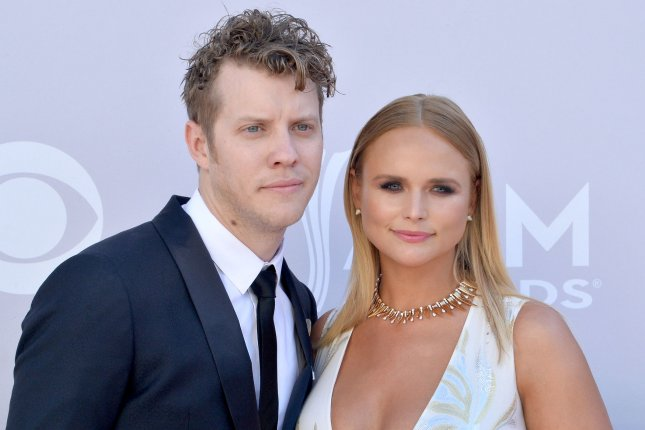 Miranda Lambert (R) and Anderson East attend the Academy of Country Music Awards on April 2. The pair celebrated their second anniversary as a couple Tuesday. File Photo by Jim Ruymen/UPI