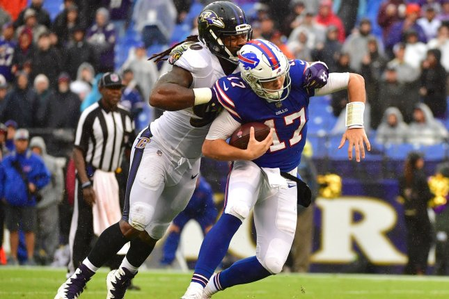 Buffalo Bills quarterback Josh Allen (17) is sacked by Baltimore Ravens linebacker Za'Darius Smith (90) in the fourth quarter on September 9 at M&T Bank Stadium in Baltimore. Photo by Kevin Dietsch/UPI