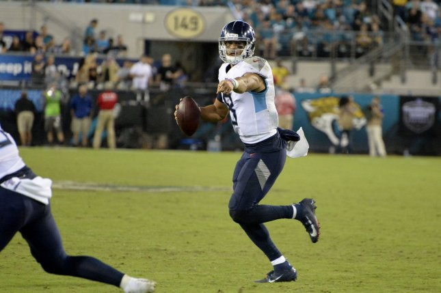 Tennessee Titans quarterback Marcus Mariota has been sacked a league-high 25 times in 2019. File Photo by Joe Marino/UPI