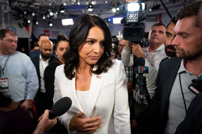 Democratic presidential candidate Tulsi Gabbard speaks to reporters after a July 31 primary debate in Detroit, Mich. File Photo by Kevin Dietsch/UPI