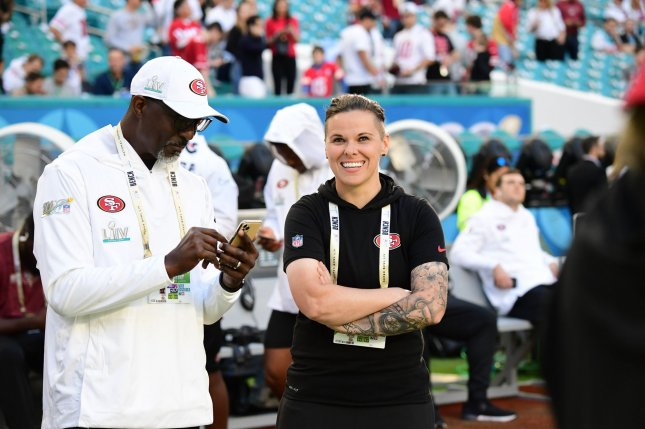 San Francisco 49ers offensive assistant Coach Katie Sowers will be one of 10 participants in a livestream at 4 p.m. EDT Saturday. File Photo by Kevin Dietsch/UPI