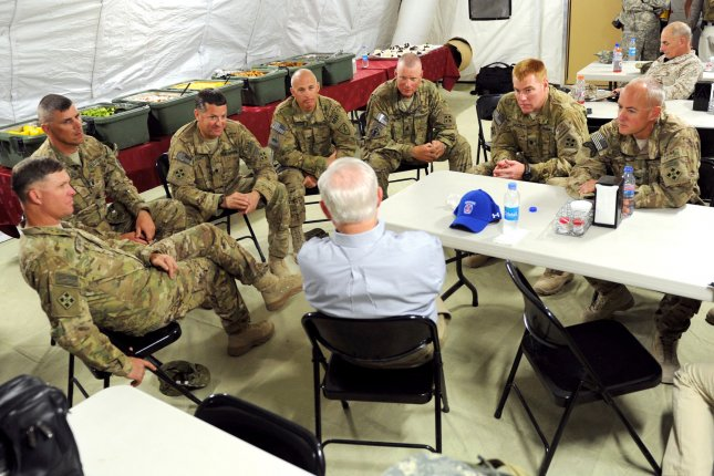 This Department of Defense photo taken on June 5, 2011 shows Defense Secretary Robert M. Gates as he meets with the unit command at a Forward Operating Base in Afghanistan. UPI/Cherie Cullen/DOD