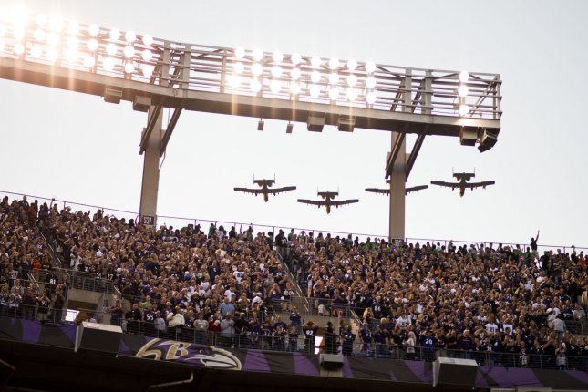 Planes of the Maryland Air National Guard fly overhead at the end of The Star-Spangled Banner before a football game at M&T Bank Stadium in Baltimore Sept. 10, 2012. The song officially became the U.S. national anthem March 3, 1931. File Photo by Matt Roth/UPI