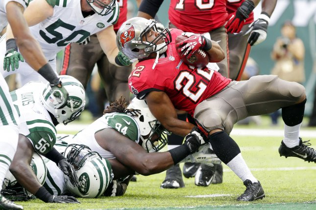 Tampa Bay Buccaneers running back Doug Martin is suspended for the first three games of the 2017 NFL season. File Photo by John Angelillo/UPI