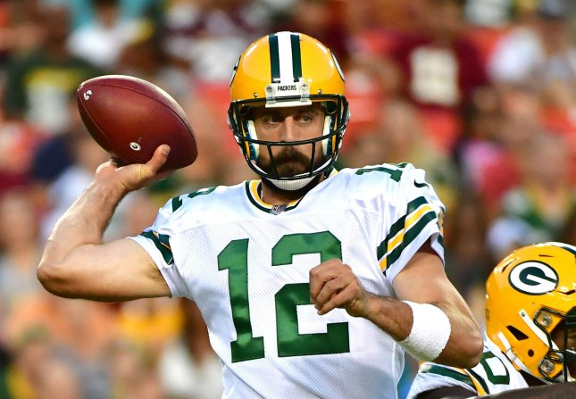 Aaron Rodgers and the Green Bay Packers face the Atlanta Falcons in a rematch of last season's NFC championship game. Photo by Kevin Dietsch/UPI