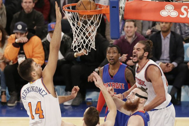 New York Knicks center Joakim Noah reacts after scoring a basket against the Detroit Pistons at Madison Square Garden in a 2016 game. File Photo by John Angelillo/UPI