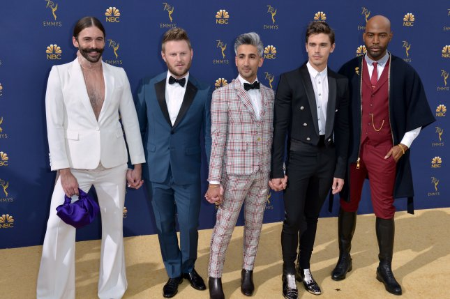 Karamo Brown (R), pictured with Jonathan Van Ness, Bobby Berk, Tan France and Antoni Porowski, appears in a sneak peek of the Queer Eye Season 3 premiere. File Photo by Christine Chew/UPI