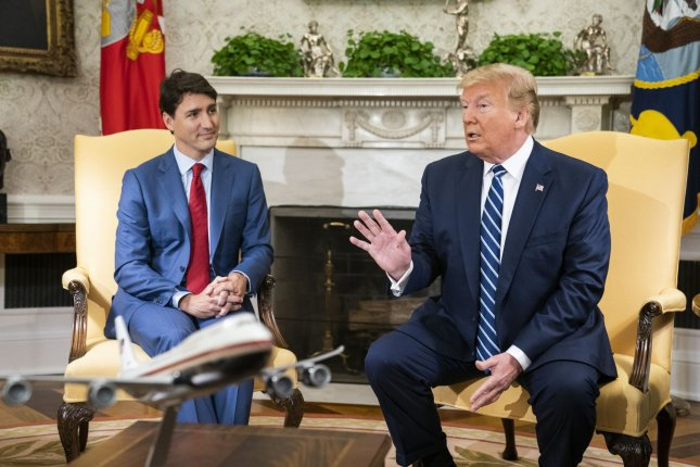 President Donald Trump met with Canadian Prime Minister Justin Trudeau in the Oval Office to discuss trade on Thursday. Photo by Jim Lo Scalzo/UPI