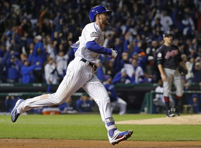 Kris Bryant belted his first home run of the spring, a grand slam in the fourth inning to power the Chicago Cubs to a 9-3 win over the Los Angeles Dodgers. File Photo by Kamil Krzaczynski/UPI