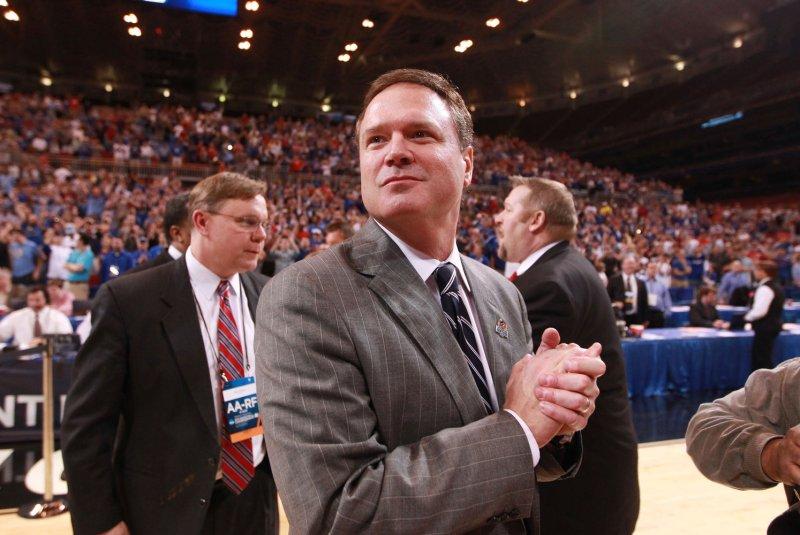 Courtside with Kansas head basketball coach Bill Self. File Photo by Bill Greenblatt/UPI