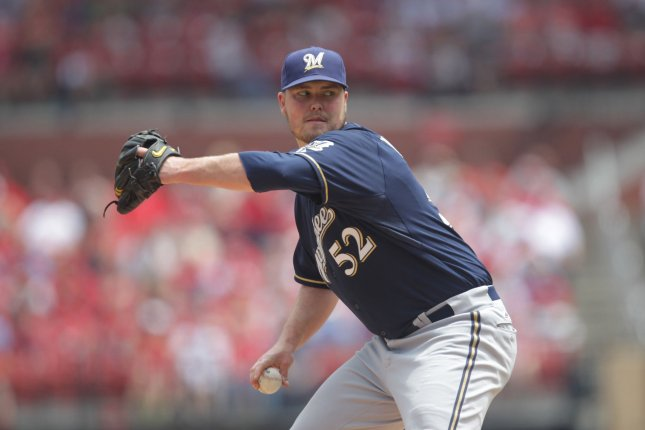 Milwaukee Brewers starting pitcher Jimmy Nelson delivers a pitch. File photo by Bill Greenblatt/UPI