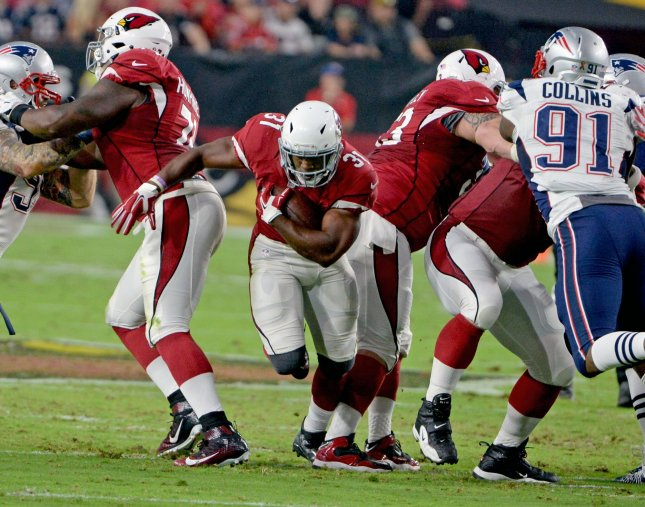 Arizona Cardinals running back David Johnson exited Sunday's game against the Detroit Lions with a wrist injury. Photo by Art Foxall/UPI