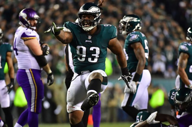 Philadelphia Eagles' Tim Jernigan (93) celebrates a stop against the Minnesota Vikings in the second quarter of the NFC Championship game on January 21 at Lincoln Financial Field in Philadelphia, Penn. Photo by Kevin Dietsch/UPI
