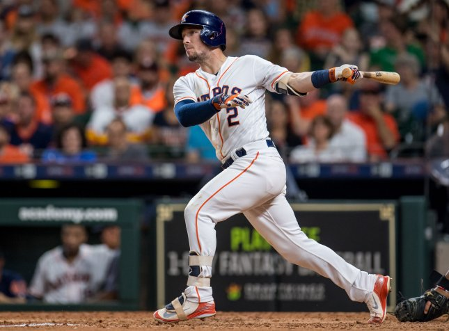 Alex Bregman and the Houston Astros face the Boston Red Sox on Friday. Photo by Trask Smith/UPI