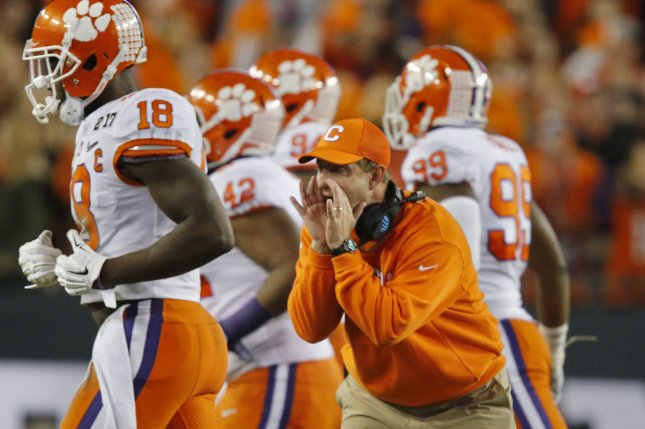 Clemson Tigers head coach Dabo Swinney calls a play against the Alabama Crimson Tide in the first half on January 9, 2017 in Tampa, Florida. File photo by Mark Wallheiser/UPI