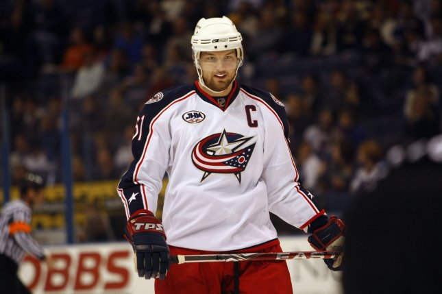 Former Columbus Blue Jackets forward Rick Nash waits for the drop of the puck in the first period against the St. Louis Blues on January 3, 2009 at the Scottrade Center in St. Louis. Nash announced his retirement on Friday after 15 seasons in the NHL. File photo by Bill Greenblatt/UPI