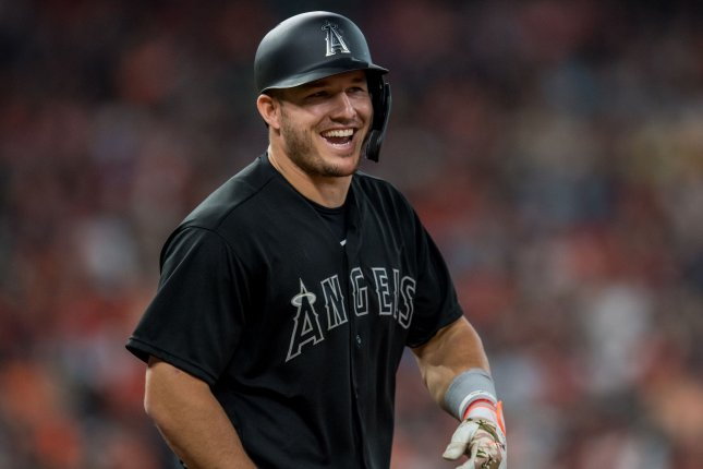 Los Angeles Angels outfielder Mike Trout received 17 first-place votes to edge Houston Astros slugger Alex Bregman for the AL MVP Award. File Photo by Trask Smith/UPI