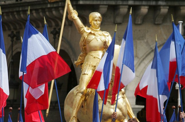 A gilded bronze statue of Joan of Arc stands in the Place des Pyramides in Paris. On May 16, 1920, Joan of Arc was canonized as a saint of the Roman Catholic Church. File Photo by Eco Clement/UPI