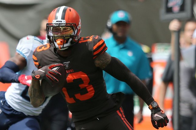Cleveland Browns wide receiver Odell Beckham Jr. suffered the knee injury during the first quarter of Sunday's game against the Cincinnati Bengals. File Photo by Aaron Josefczyk/UPI