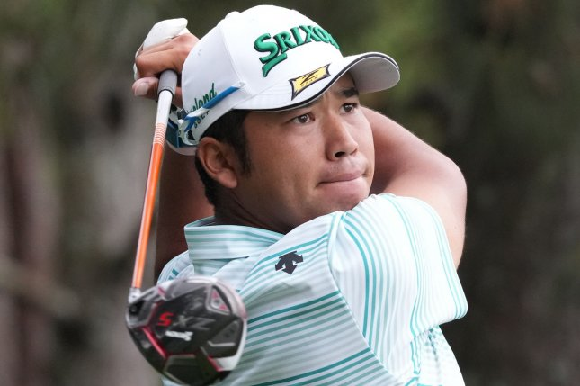 Hideki Matsuyama of Japan hits a tee shot in the third round of the 2021 Masters Tournament on Saturday at Augusta National Golf Club in Augusta, Ga. Photo by Kevin Dietsch/UPI