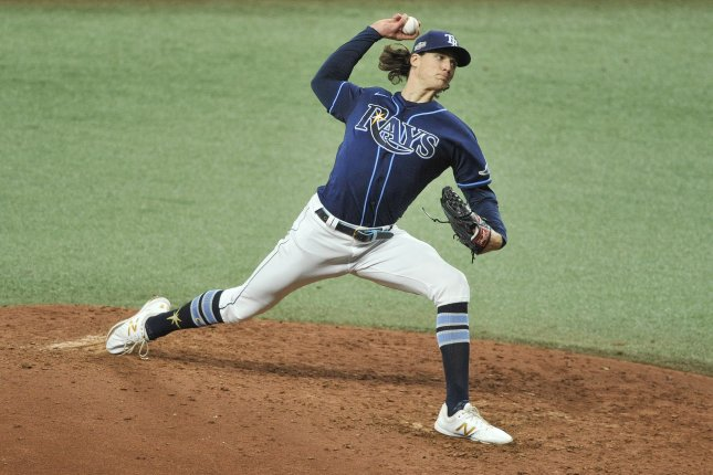 Tampa Bay Rays starter Tyler Glasnow, shown Sept. 20, 2020, was injured during the Rays' game against the Chicago White Sox on Monday. File Photo by Steve Nesius/UPI