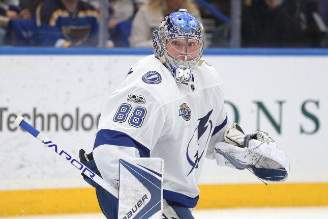 Tampa Bay Lightning goaltender Andrei Vasilevskiy recorded 21 saves in a win over the New York Islanders in Game 5 of the Stanley Cup Playoffs Semifinals on Monday in Tampa, Fla. File Photo by Bill Greenblatt/UPI