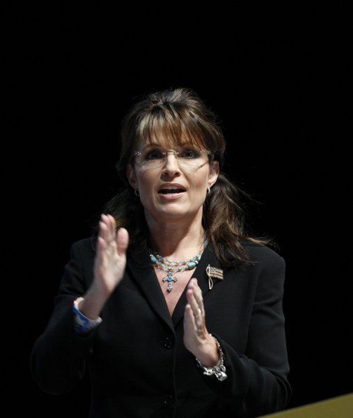 Sarah Palin speaks at a National Rifle Association meeting in Charlotte, N.C., May 14, 2010. UPI/Nell Redmond .