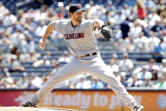Cleveland Indians starting pitcher Corey Kluber throws a pitch in the first inning. UPI/John Angelillo