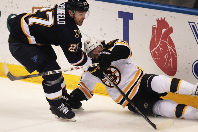 David Pastrnak ended a 17-game goal-scoring drought with 46.9 seconds left in overtime, and the Boston Bruins halted a four-game losing streak with a 4-3 victory over the Detroit Red Wings on Tuesday night. File Photo by BIll Greenblatt/UPI