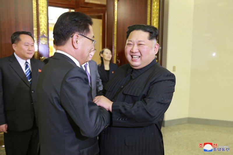 North Korean leader Kim Jong Un meets with South Korean officials in Pyongyang, North Korea, on Monday. Photo courtesy of KCNA/UPI