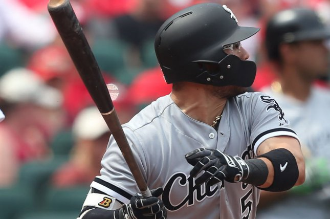 Chicago White Sox's Yolmer Sanchez swings, hitting a RBI single in the eighth inning against the St. Louis Cardinals on May 2 at Busch Stadium in St. Louis. Photo by Bill Greenblatt/UPI