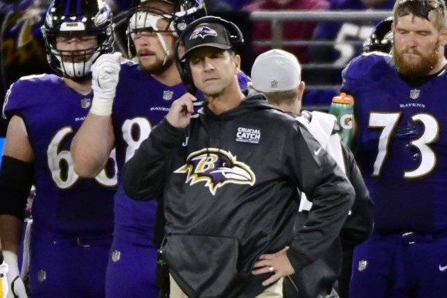 Baltimore Ravens head coach John Harbaugh reacts late in the second half against the New Orleans Saints on Sunday at M&T Bank Stadium in Baltimore, Maryland. Photo by David Tulis/UPI