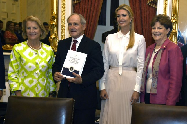 Ivanka Trump poses with Sen. Shelley Moore Capito, Sen. Jim Risch and Sen. Jeanne Shaheen during a meeting on theimplementation of The Women, Peace and Security Act. Photo by Mike Theiler/UPI