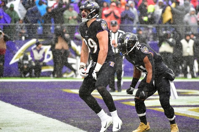 Baltimore Ravens tight end Mark Andrews (89) celebrates a 20-yard touchdown pass Sunday against the San Francisco 49ers at M&T Bank Stadium in Baltimore, Md. Photo by David Tulis/UPI